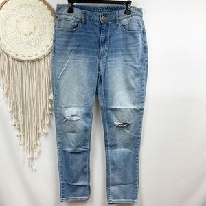 WHBM boyfriend distressed light wash jeans